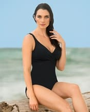 tummy control one piece swimsuit with crisscross top--MainImage