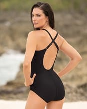 tummy control one piece swimsuit with crisscross top--AlternateView1