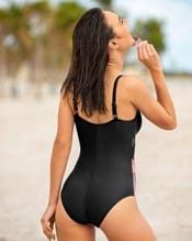 cross-front color block one-piece shaping swimsuit--AlternateView1