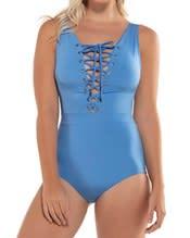 lace-up plunge one-piece minimalist sculpting swimsuit--MainImage