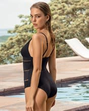 laser cut one-piece slimming swimsuit--AlternateView1