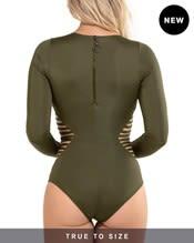 zip-back strappy long sleeve slimming surfsuit--AlternateView1