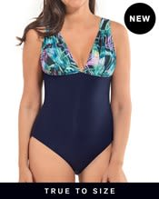slimming color block plunge one-piece swimsuit--MainImage
