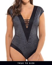 strappy front plunge slimming one-piece swimsuit--MainImage