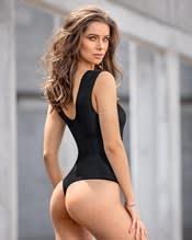 mesh double-v neck moderate shaper bodysuit--AlternateView1