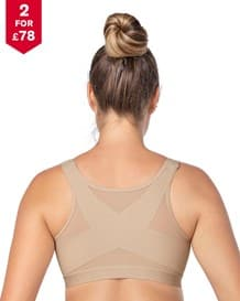 back support posture corrector wireless bra with adjustable front closure--MainImage