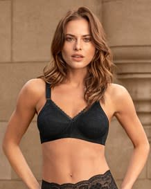 extra coverage support wireless bra with lace cups-700- Black-MainImage