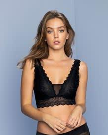 fierce almost-plunge sheer lace bralette--MainImage