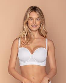 strapless bra with underwire - lace stripe-000- White-MainImage