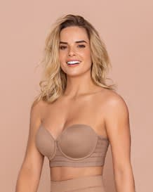 strapless bra with underwire - lace stripe--MainImage