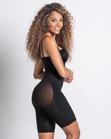 seamless high waist shapewear with thigh compression-700- All Black-MainImage
