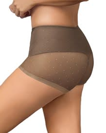 vintage interlace compression boyshort panty-087- Brown-MainImage