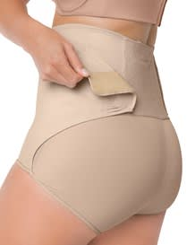 high-waisted firm tummy compression postpartum panty with adjustable belly wrap-802- Nude-MainImage