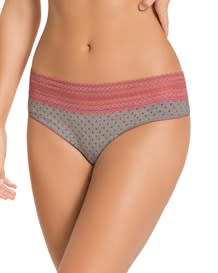 comfy thong panty with lace trim - cotton blend-221- Pink-MainImage