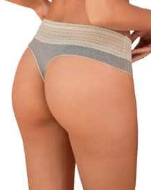 comfy cotton blend lace trim thong panty--MainImage