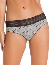 comfy thong panty with lace trim - cotton blend-700- Black-MainImage