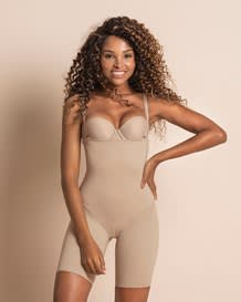 invisible strapless mid thigh body shaper with moderate compression-802- Nude-MainImage