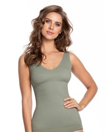 double-v undetectable padded shaper tank-623- Green-MainImage