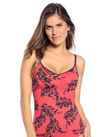 secret sculpting 2-way tank-103- Coral/Black Leaves-MainImage