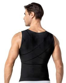 mens firm compression shaper vest with back support - maxforce-700- Black-MainImage