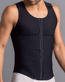 mens firm shaper vest with back support  front hook closure-700- Black-MainImage