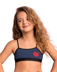 girls basic cotton blend seamless bra-589- Blue-MainImage
