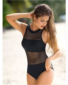 trendy mesh one-piece bathing suit-700- Black-MainImage