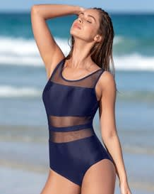 sophisticated mesh cutout one piece swimsuit with lower tummy control-509- Blue-MainImage