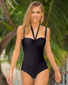 one piece strapless swimsuit with tummy control-700- Black-MainImage