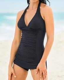 vestido de bano entero con falda short y control de abdomen--ImagenPrincipal