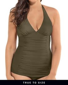 one piece slimming bathing suit - shirred front halter top-695- Dark Green-MainImage