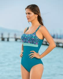 sophisticated mesh cutout one-piece swimsuit with lower tummy compression-690- Blue-MainImage