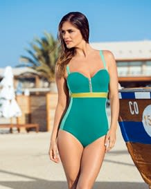traje de bano entero con cierre frontal para escote profundo-692- Sea Green-MainImage