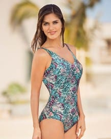 vibrant high-coverage one-piece swimsuit with tummy compression-563- Animal Print-MainImage