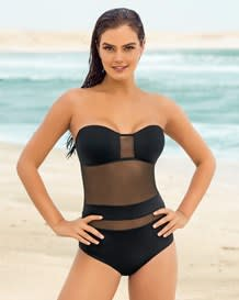 slimming strapless mesh one-piece-700- Black-MainImage