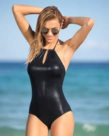 vivid vibes slimming leather look high-neck one-piece swimsuit-700- Black-MainImage