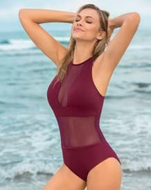 mesh one-piece swimsuit with lower tummy compression-466- Wine-MainImage