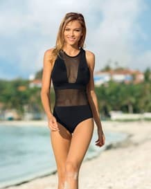 mesh one-piece swimsuit with lower tummy compression-700- Black-MainImage