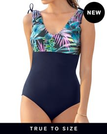 new color block u-back one-piece slimming swimsuit-509- Blue-MainImage