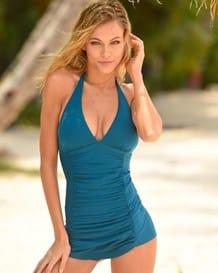traje de bano entero de control con falda estilo short-563- Blue-MainImage