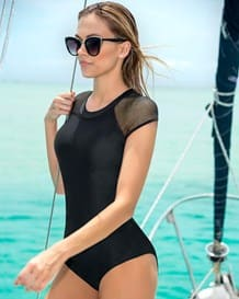vestido de bano entero high neck estilo surf con mangas en malla-700- Black-MainImage