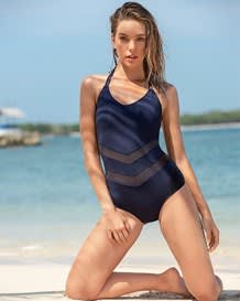 one-piece sheer mesh cutout slimming swimsuit with halter top-509- Blue-MainImage