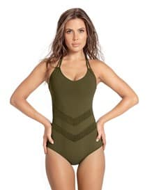 one-piece sheer mesh cutout slimming swimsuit with halter top-695- Olive-MainImage