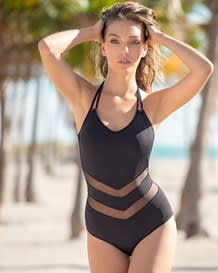 one-piece sheer mesh cutout slimming swimsuit with halter top-700- Dark Blue-MainImage