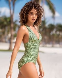 shirred strappy back firm compression one-piece swimsuit-001- Green-MainImage
