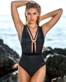 vestido de bano entero con escote profundo y accesorio en escote-700- Black-MainImage