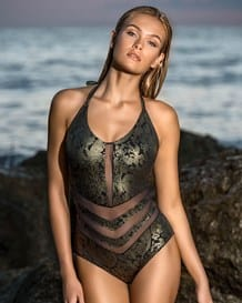 baroque one piece swimsuit with mesh cutouts-700- Graphic Black-MainImage