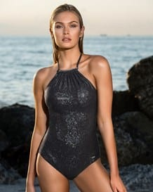 high-neck one-piece sculpting swimsuit--MainImage