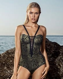 ladder front one-piece slimming swimsuit with shiny finish-700- Graphic Black-MainImage