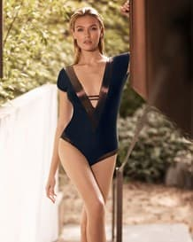 dark dreamy plunging neckline one-piece slimming swimsuit--MainImage